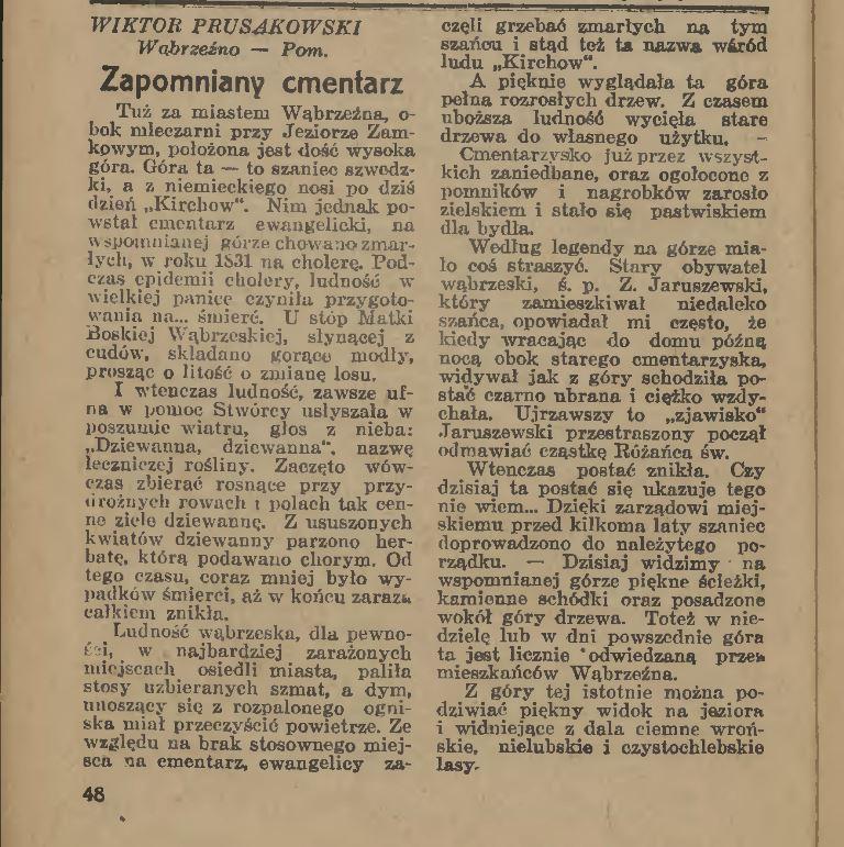 W. Prusakowski, Zapomniany cmentarz, Ilustrowany kalendarz Słowa Pomorskiego, 1937, s. 48